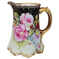 """Spectacular Elite L France 1900's Hand Painted """"Red, Pink, & White Roses"""" Floral Pitcher by Artist, """"A. LaJus"""""""