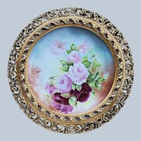 "Breathtaking Limoges France 1900's Hand Painted Vibrant ""Red & Pink Roses"" 16-1/2"" Floral Plaque in Rococo Style Frame by Artist, ""Belva"""