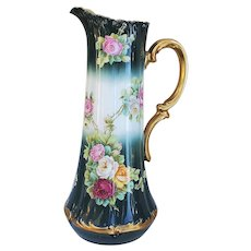 """Magnificent 15-1/2"""" Vintage Tressemann & Vogt Limoges France 1900 Hand Painted Vibrant """"Red, Pink, Yellow, & White Roses"""" Floral Tankard w/Mint 22 K Gold"""