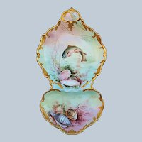 """Ester Miler"" Exceptional Tresseman & Vogt Limoges France 1900 Hand Painted ""Sea Life"" Rococo Style Scenic Sardine Tray"