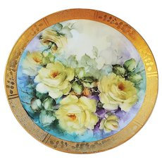 """Wonderful American Artist 1900's Hand Painted Vibrant & Lifelike """"Deep Yellow Roses"""" 10-1/2"""" Fancy Gilded Floral Plate, by Artist, """"M. Baca"""""""