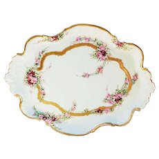 """Attractive A. Klingenberg Limoges France 1900 Hand Painted """"Petite Roses"""" 12"""" Floral Tray"""