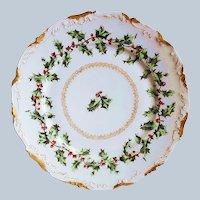 "Wonderful Tressemann & Vogt Limoges France 1900 ""Holly & Berry"" Christmas Dessert Plate"