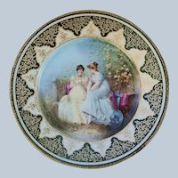 "Spectacular Vintage William Guerin Limoges France 1900's Hand Painted ""Two Women Chatting in the Garden"" 10"" Scenic Plate by French Artist, ""Breton"""