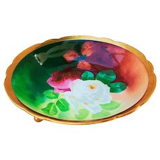 """Lavish Looking Belleroy Mavaleix Mandavy Limoges France 1900 Hand Painted """"Deep Red & White Roses"""" 3-Footed Floral Bowl by French Artist,""""A. Bronssillon"""""""
