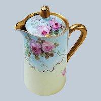 """Spectacular Vintage Limoges France 1900's Hand Painted """"Pink Roses"""" Floral Tea Pot"""