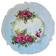 """Breathtaking Vintage T & V Limoges France 1900 Hand Painted """"Deep Red Roses"""" Floral Plate by the Artist, """"A.L. Klinkhamer"""""""