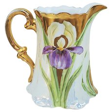"Fabulous Vintage Rosenthal Bavaria 1900's Hand Painted ""Purple Iris"" 8-1/4"" Early Chicago Decorated Floral Pitcher"