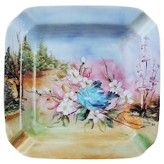 "Beautiful Bavaria 1900's Hand Painted ""Bluebird in a Flowering Crabtree"" Scenic Ashtray by Artist, ""W.A.P."""