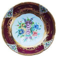"""Stunning Limoges France 1900's Hand Painted """"Wild Flowers"""" 3-Footed Floral Bowl by """"S.M."""" Made for Blum's of Chicago"""