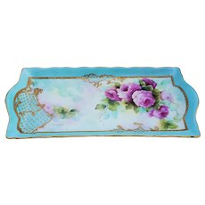"Gorgeous Bavaria 1900's Hand Painted ""Pink Roses"" 11-1/2"" Floral Tray with Heavy 22 K Gold by Artist, ""S. Miesner"""