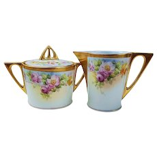 "Pickard Artist, Howard Reury's Vintage JR Bavaria 1900's Hand Painted ""Red, Pink, & Yellow Roses"" Floral Sugar & Creamer Set"