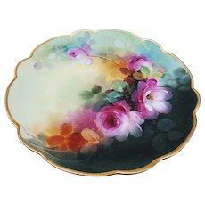 """Fabulous Limoges France & Pickard Studio 1900 Hand Painted """"Red Roses"""" Floral Plate by Artist, """"Thomas Jelinek"""""""