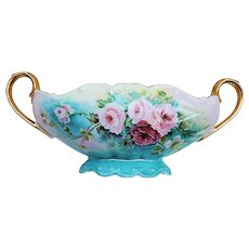 """Fabulous Bareuther Bavaria 1900's Hand Painted """"Red & Pink Roses"""" 13"""" Pedestal Floral Center Bowl by Artist, """"G. Thomas"""""""