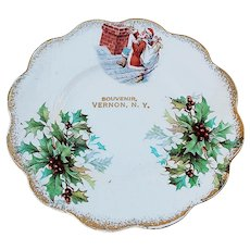 """Charming Early 1900's """"Santa Claus with Holly & Berry"""" Christmas Plate"""