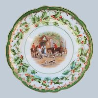 "Outstanding Imperial Austria 1900 Christmas ""Fox & Hound Hunting"" Holly & Berry Scenic Plate"