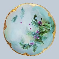 "Gorgeous Vintage Haviland France 1904 Hand Painted ""Holly & Berry"" Christmas Plate by Artist, ""A.T.N."""