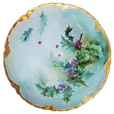 """Gorgeous Vintage Haviland France 1904 Hand Painted """"Holly & Berry"""" Christmas Plate by Artist, """"A.T.N."""""""