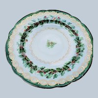 "Stunning Vintage Austria 1900's Holiday ""Holly & Berry"" Christmas Floral Plate"