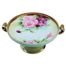 """Gorgeous Vintage Burley & Co of Chicago 1900's Hand Painted """"Red & Pink Roses"""" 5"""" Pedestal Floral Compote"""