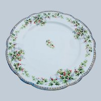 "Charming Vintage Imperial Austria 1900 ""Holly & Berry"" 8-1/2"" Christmas Floral Plate"