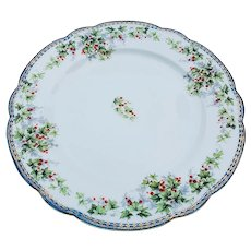 """Charming Vintage Imperial Austria 1900 """"Holly & Berry"""" 8-1/2"""" Christmas Floral Plate"""