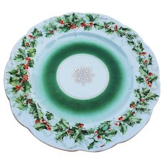 """Beautiful Vintage Germany Three Crown 1900 """"Holly & Berry"""" Christmas Floral Plate"""