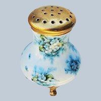 "Fabulous Vintage Bavaria 1900's Hand Painted ""Blue Violets"" 4-Footed Floral Sugar Shaker by Artist, ""Brown"""