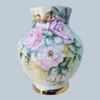 """Gorgeous Bavaria 1900's Hand Painted """"Pink & Lavender Roses"""" Floral Vase by Artist, """"Helen Kentgen"""""""