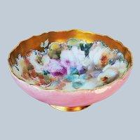 "Fabulous Tressemann & Vogt Limoges France 1900 Hand Painted Lifelike ""Pink, Yellow, & White Roses"" 9-1/2"" Floral Pedestal Fruit Bowl by Pickard Artist, ""Erhardt Seidel"""