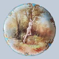 "Spectacular Jean Pouyat Limoges France 1900 Hand Painted ""Diana the Huntress"" Goddess of the Hunt 11-3/8"" Scenic Nude Charger by Artist, ""Cadillou Fils"""