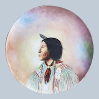 "Wonderful Jean Pouyat Limoges France 1900's Hand Painted ""Chief Lone Wolf"" 11-3/8"" Portrait Plaque by Artist, ""G.A. Stiles"""