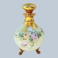 "Gorgeous GDA Limoges France 1900's Hand Painted ""Pink & Yellow Roses"", with Blue Beading, 3-Footed Floral Perfume Bottle"