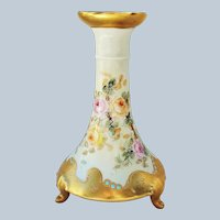 "Fabulous PL Limoges France 1900's Hand Painted ""Pink & Yellow Roses"", with Blue Beading, 3-Footed Floral Candlestick Holder."