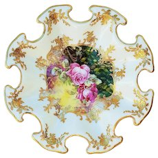 "Gorgeous Vintage Victoria Austria 1900's Hand Painted ""Red Roses"" Fancy Scalloped & Heavy Gilded Floral Plate by Artist, ""T. Reitschleige"""