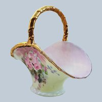 "Beautiful Vintage Bernardaud & Co. Limoges France 1900 Hand Painted ""Pink Roses"" Sugar Basket by Artist, ""PNS"""