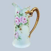 "Beautiful Vintage Limoges France 1900's Hand Painted ""Pink Roses"" Dragon Handle Floral Tankard by the Artist, ""Surquist"""