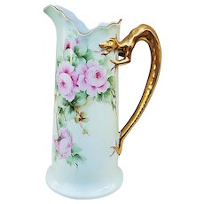 """Beautiful Vintage Limoges France 1900's Hand Painted """"Pink Roses"""" Dragon Handle Floral Tankard by the Artist, """"Surquist"""""""