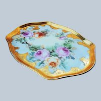 """Stunning 13"""" William Guerin Limoges France 1900's Hand Painted """"Pink, Yellow, & Peach Roses"""" 22 K Gold & Beaded Floral Tray"""
