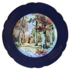 """Gorgeous William Guerin Limoges France 1890's Hand Painted """"A Path Through the Woods in the Fall"""" Cobalt Blue Scenic Plate by the Listed Chicago Artist, """"F.L. Grunewald"""""""