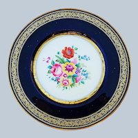 "Beautiful Vintage England Cauldon 1900 Hand Painted ""Wild Flowers"" 9"" Cobalt Blue Floral Plate"