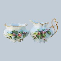 "Wonderful Vintage MZ Austria 1900's Hand Painted ""Holly & Berry"" Christmas Creamer & Open Sugar"