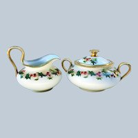 "Charming Avenir Limoges France 1900 Hand Painted ""Holly & Berry"" Christmas Creamer & Sugar"