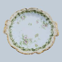 "Charming ""Holly & Berry & Christmas Roses"" Lewis, Straus, & Sons Limoges France 1900 10-3/4"" Holiday Floral Plate"