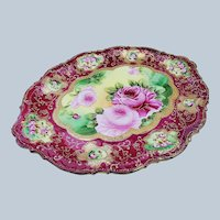 """Stunning Nippon 1900's Hand Painted """"Red & Pink Roses"""" Heavily Beaded & Gilded 12"""" Red Floral Tray"""
