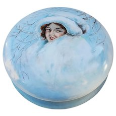 """Large 8"""" AKD Limoges France 1900 Hand Painted """"Girl in the Snow"""" Scenic Dresser Box, Artist Initial"""