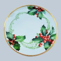 "Beautiful Haviland France 1900 Hand Painted ""Holly & Berry"" 9"" Christmas Floral Plate"