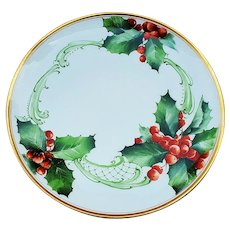 """Beautiful Haviland France 1900 Hand Painted """"Holly & Berry"""" 9"""" Christmas Floral Plate"""