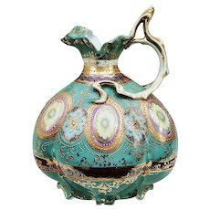 """Spectacular Nippon 1900's Hand Painted Ornate """"Yellow Daisy"""" 9"""" Fancy Teal & Maroon Gold Beaded Ewer"""