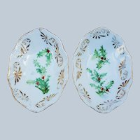 "Wonderful Vintage Bavaria 1900's Pair of ""Holly & Berry"" Christmas Salt Dips"